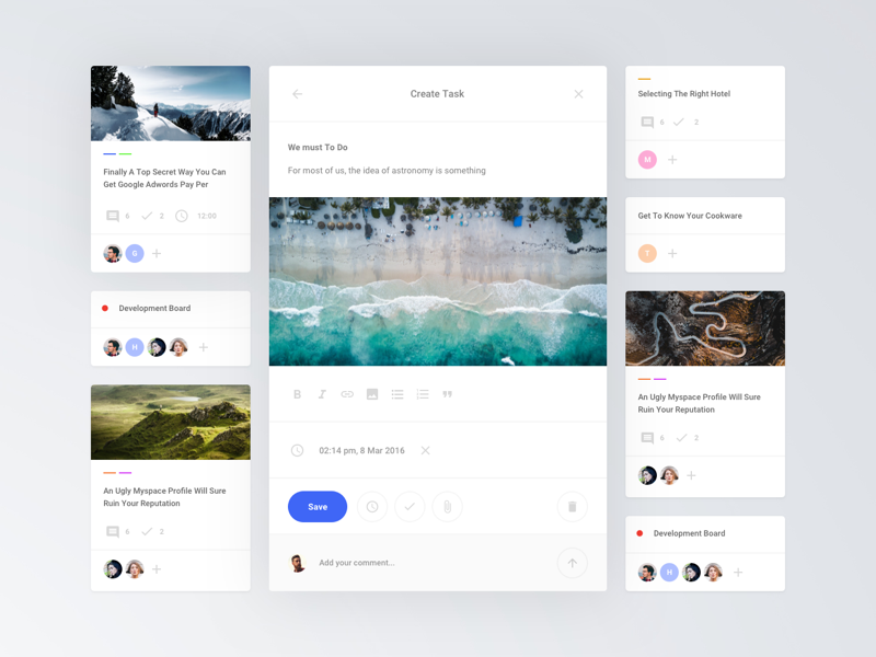 Cards Task Board web ux ui sketch ui kit interface tasks