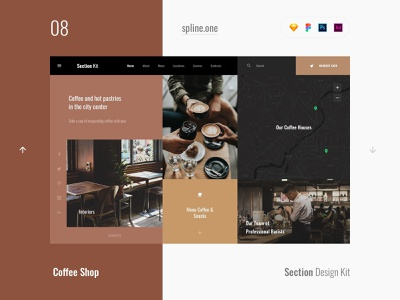 08 Coffee, Section Design Kit webdesigner dailyui landing page ui blocks symbols inspiration site interface kit psd ux ui uikit donwload web figma adobe xd sketch photoshop template