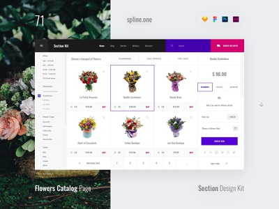 71 Flower Shop Catalog, Section Design Kit webdesigner dailyui landing page ui blocks symbols inspiration site interface kit psd ux ui uikit donwload web figma adobe xd sketch photoshop template
