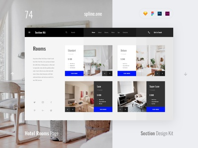 74 Hotel Rooms, Section Design Kit webdesigner dailyui landing page ui blocks symbols inspiration site interface kit psd ux ui uikit donwload web figma adobe xd sketch photoshop template