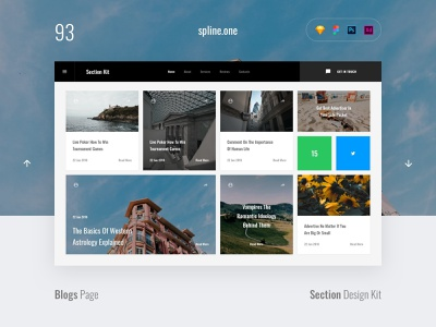 93 Blogs, Section Design Kit webdesigner dailyui landing page ui blocks symbols inspiration site interface kit psd ux ui uikit donwload web figma adobe xd sketch photoshop template