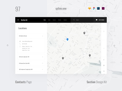 97 Locations, Section Design Kit webdesigner dailyui landing page ui blocks symbols inspiration site interface kit psd ux ui uikit donwload web figma adobe xd sketch photoshop template
