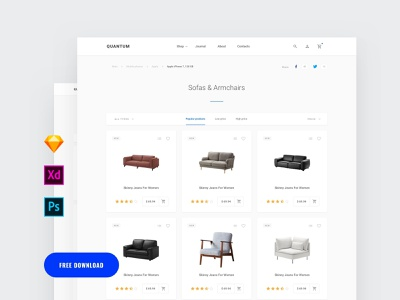 Free Commerce Category ui cards download webdesigner dailyui donwload site photoshop landing page template ui blocks symbols adobe xd ui kit kit psd ux interface ui web sketch