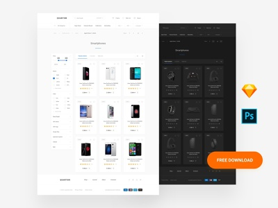 Free Web Commerce template uikit photoshop donwload landing page template ux sketch web interface ui blocks symbols adobe xd kit ui kit psd free ai free