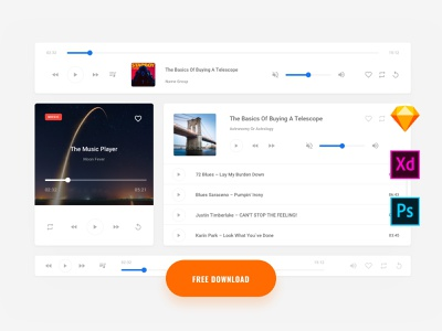 Fee Music UI Kit symbols adobe xd ui kit kit interface ui web ux sketch xd psd download free