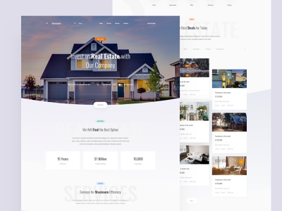 Real Estate Template landing page template ui blocks symbols adobe xd ui kit kit psd interface ui web sketch ux
