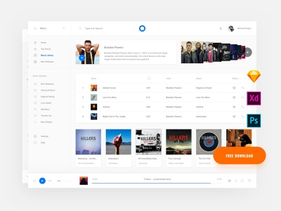 Free Web Music Template donwload photoshop landing page template ui blocks symbols adobe xd ui kit kit psd interface ui web sketch ux download