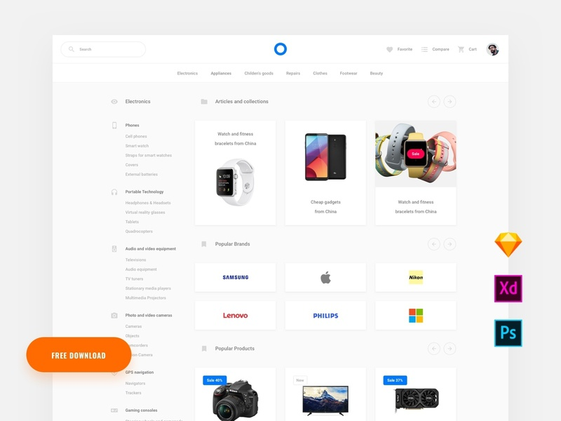 Free Commerce Page template ui blocks symbols adobe xd ui kit psd sketch ui interface web commerce download free