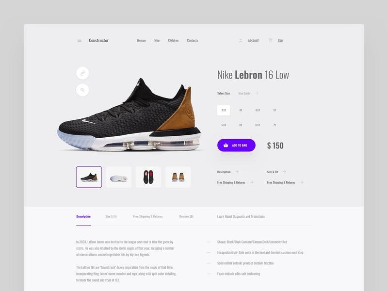 Product Page ux web ui commerce ecommerce