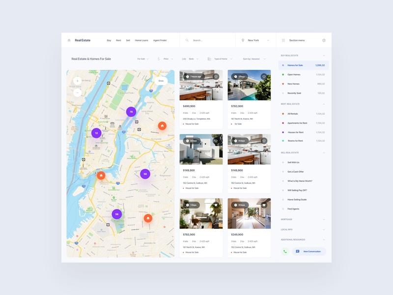 Real Estate working adobe xd ui kit interface ui web template property rentals real estate rental ux