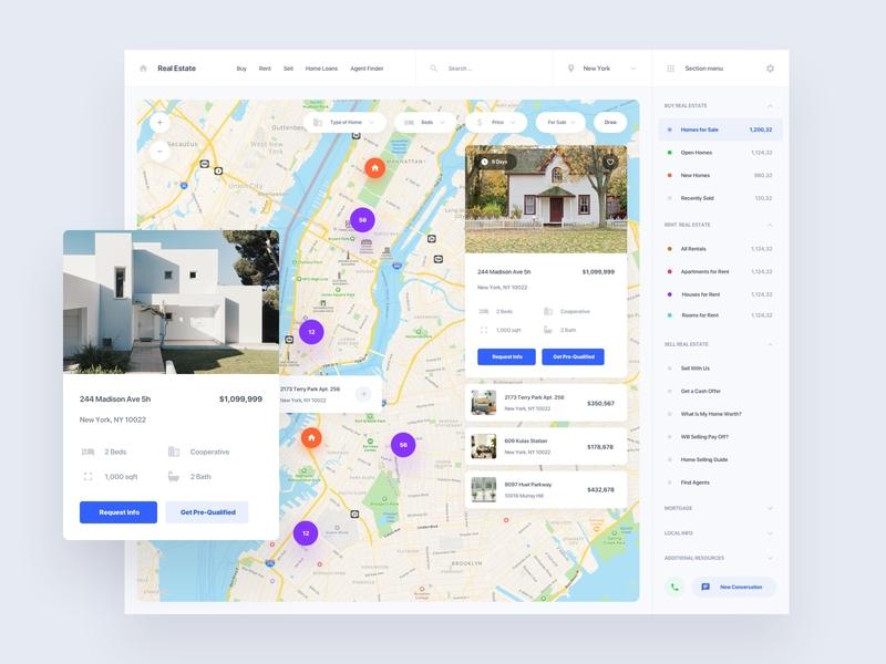 Real Estate Map property rental rent real estate web ui sketch ux