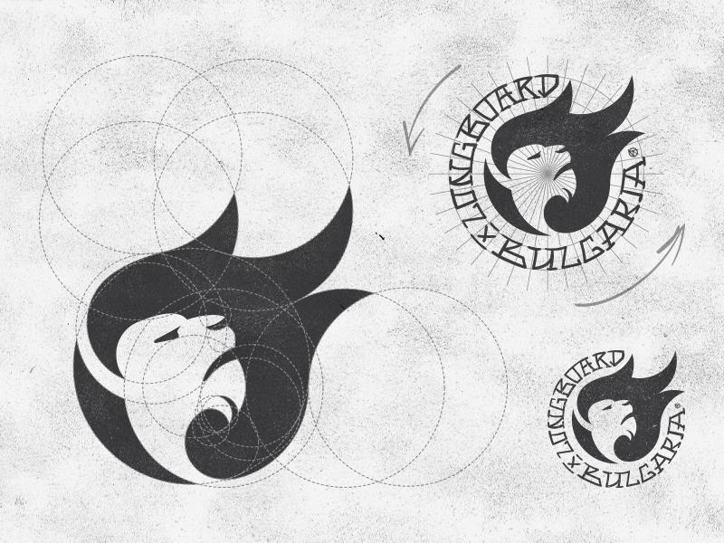 Longboard Bulgaria Logo Design Brand Mark Symbol Sketch handwrite space negative letter lion bulgaria symbol mark brand design logo longboard