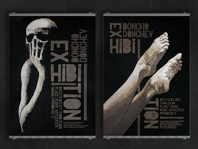 DonchoDonchev Exhibition Posters typography canvas black skull legs painting drawing poster exhibition