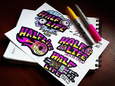 HALF-LIFE skate crew - sketch bones skull zombie sketch illustration logo crew skate life half