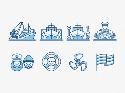 Shipicons flat propeller captain flag manning repair building set pack icon services ship