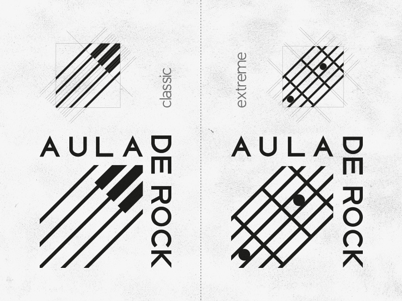 Aula De Rock symbol mark logo music piano guitar school rock aula branding dinamic