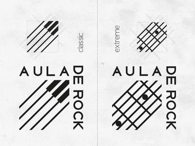 Aula De Rock symbol mark logo music piano guitar school rock aula branding dinamic