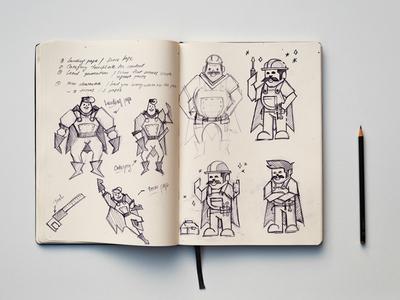 Working Class Hero sketch character hero super worker flat