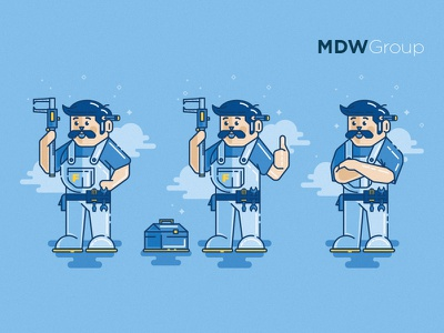 Working Class Hero flat illustration line tool blue cloud sparkles class character hero super worker