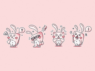 FunnyBunny stickers set pack illustration emoticons emoji cute bunny funny character