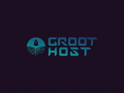 GROOT.Host design symbol mark logo rocket sparkle space host root giant