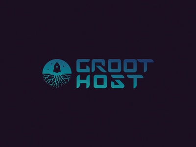 GROOT.Host design symbol mark logo rocket sparkle space host root giant