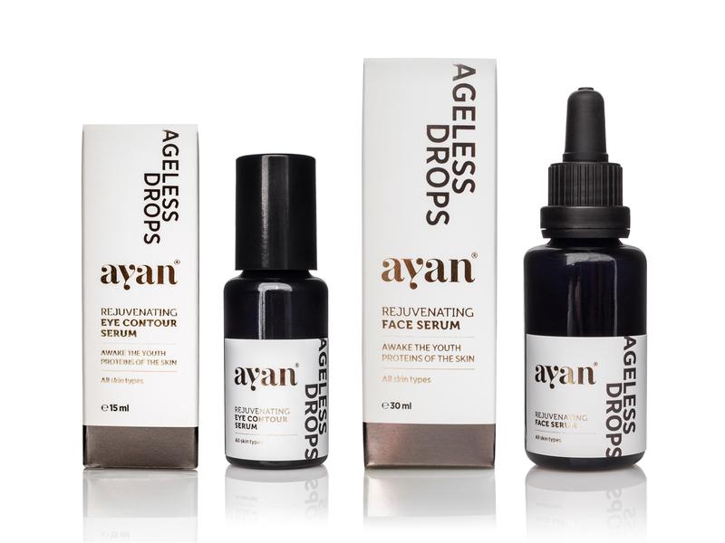 Ayan Ageless Drops eye contour serum face serum skin care serum ayan cosmetic packaging cosmetics natural cosmetics