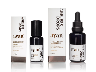Ayan Ageless Drops eye contour serum face serum skin care serum ayan cosmetic packaging cosmetics natural cosmetics
