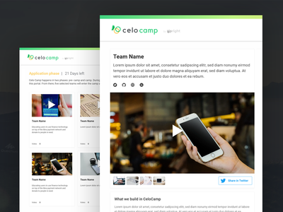 CeloCamp platform blockchain branding website design ui