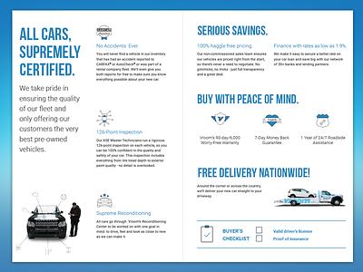 Brochure - Vroom cars blue design print brochure