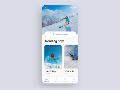 Winter sports app concept - Your snow buddy weather scroll cards icons minimalistic clean snowboarding skiing app mountain snow after effects design ux ui mobile concept animation android ios