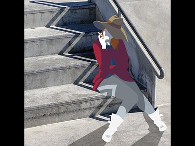 On The Stairs - Photoillustration vector photoillustration illustration fashion