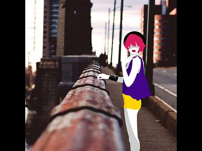 On The Bridge - Photoillustration fashion vector illustration photoillustration