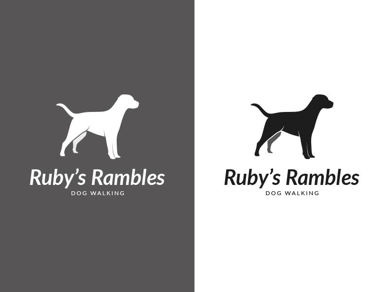 Ruby's Rambles Logo design typography logotype logo dog walker dog