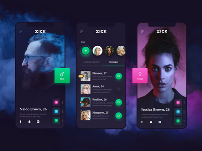 Zick App zick app zick ui  ux design tinder mobile app ios dating app dating 10clouds design 10clouds