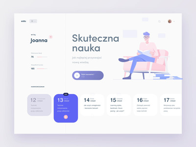 Eddu - Education Platform cards light blue pink overview dashboard slides slider falt flatillustration coaching selfgrowth selfdevelopment eddu ux ui animation timeline education