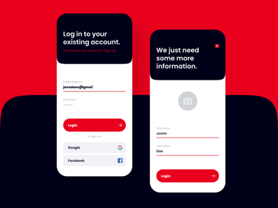 App Login Signup ui ux design logo branding account create account signup login design app design ui design