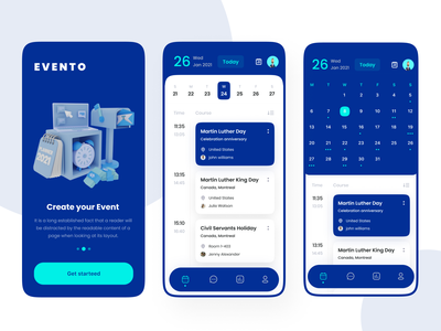 Calendar App Design branding landing page ui ux design event app calendar app app design