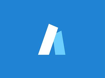 A icon exploration vector blue illustration logo symbol mark letter a