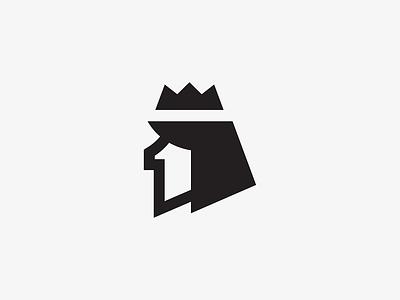 1 + King number illustration crown vector pixel logo icon symbol mark king head