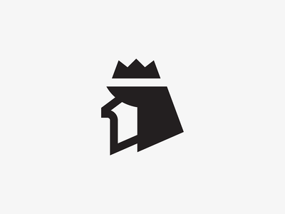 1 + King head king mark symbol icon logo pixel vector crown illustration number