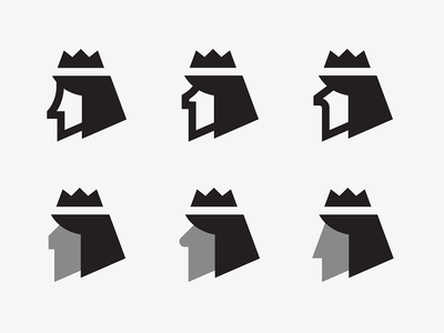1 + King Variants head king mark symbol icon logo pixel vector crown illustration number
