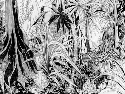 Jungle lllustration nature pattern nature art patterns pattern wildlife art wildlife illustration wildlife rainforest jungle illustration jungle safari jungle tree animals black and white blackandwhite hand drawn handdrawn art drawing illustration