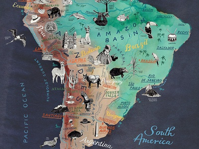 Illustrated Map of South America map illustration colorful map map design map artist map art brazilian brazil argentina latin america south america handdrawn drawing art hand drawn illustrated map illustration