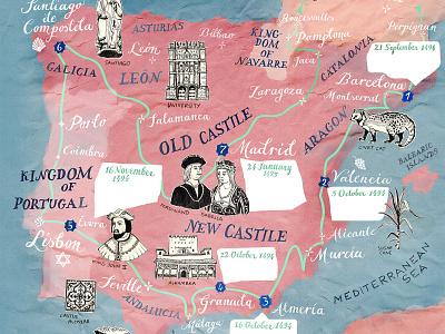 Spain & Portugal Map Illustration, BBC World Histories Mag IV map illustration mediterranean pink mapartist handdrawing historical historic medieval spain portugal geography hand lettered illustration art travel map art hand drawn illustrated map