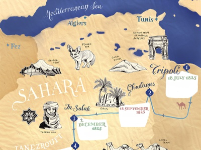 Sahara Map Illustration, BBC World Histories Mag V oasis wüste camels expedition adventure desert africa sahara geographic hand lettered geography travel map art hand drawn art drawing illustrated map illustration