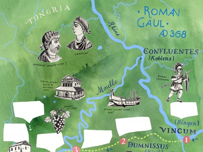 Moselle Map Illustration for BBC World Histories Magazine VI rivers mapping romans antiquity historical antique adventurer expedition germany roman historic map illustration art hand lettered geography travel map art hand drawn illustrated map illustration