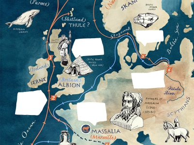 Thule Map Illustration for BBC World Histories Magazine VII mediterranean western europe britain european europe antique greek antiquity quest expeditions thule illustration art drawing map art hand lettered geography travel handdrawn hand drawn illustrated map