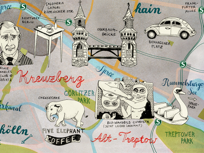 Berlin illustrated Map drawing travel illustrated map illustration berlin map