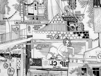 Auckland K'Road Street Panorama pencil illustration graphite street art black and white drawing illustration new zealand auckland